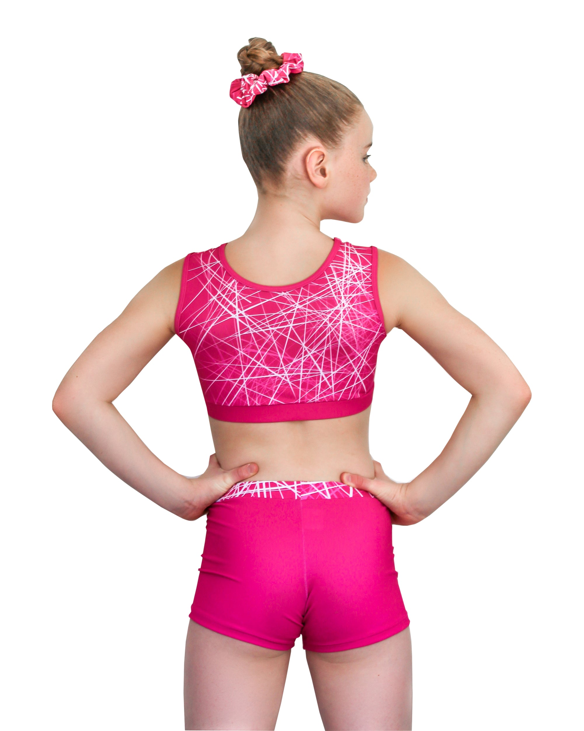 FRACTURED PINK CROP TOP SET (CLOSED BACK)