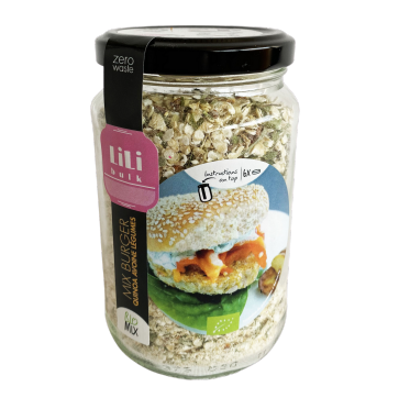 Mix Burger quinoa avoine légumes by Lili Bulk (4,99€/pot + consigne 1€)