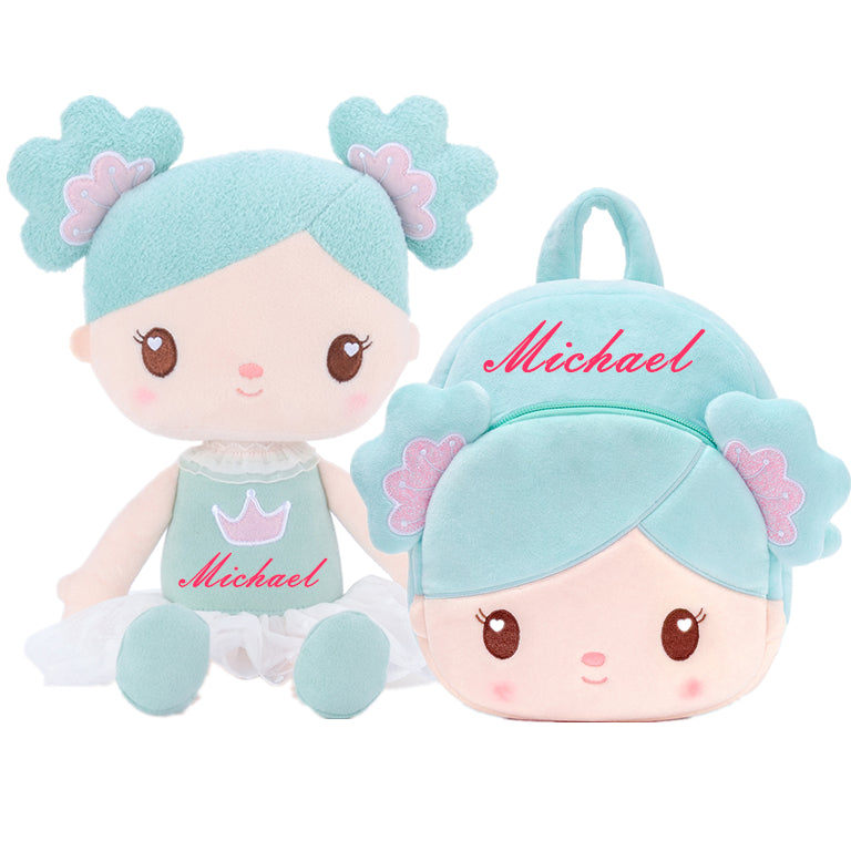 Personalized Gloveleya Candy Princess - Mint Doll with Backpack Bag