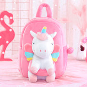 Gloveleya White Unicorn Doll Backpack Personalized Backpack for Baby Girl Gifts 9 Inches