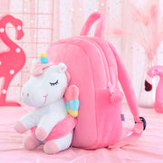 Gloveleya White Unicorn Doll Backpack Bag Personalized Backpack for Baby Girl Gifts 9 Inches