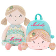 Personalized Gloveleya Spring Girl - Green Doll with Backpack
