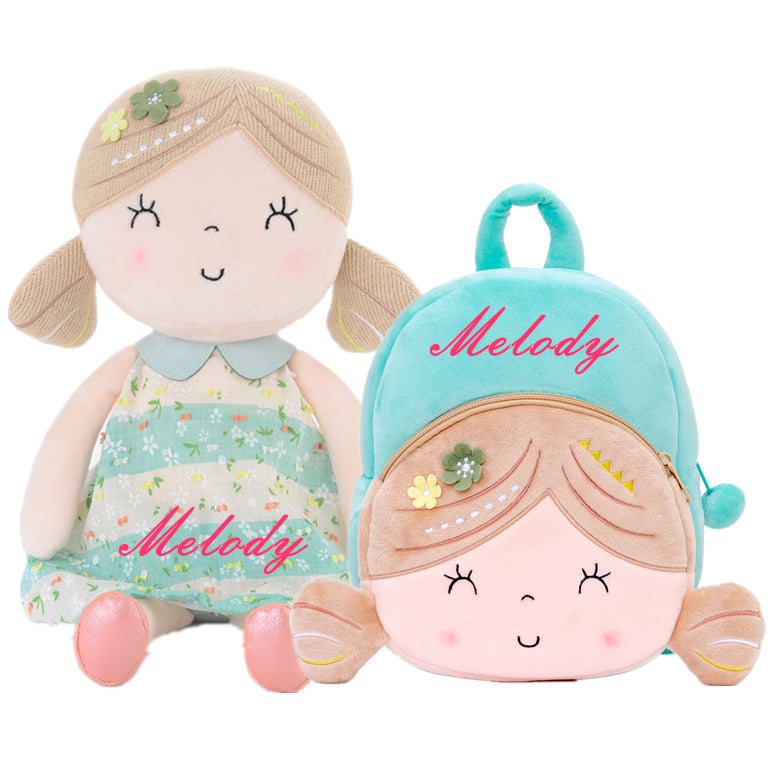 Personalized Gloveleya Spring Girl - Green Doll with Backpack Bag