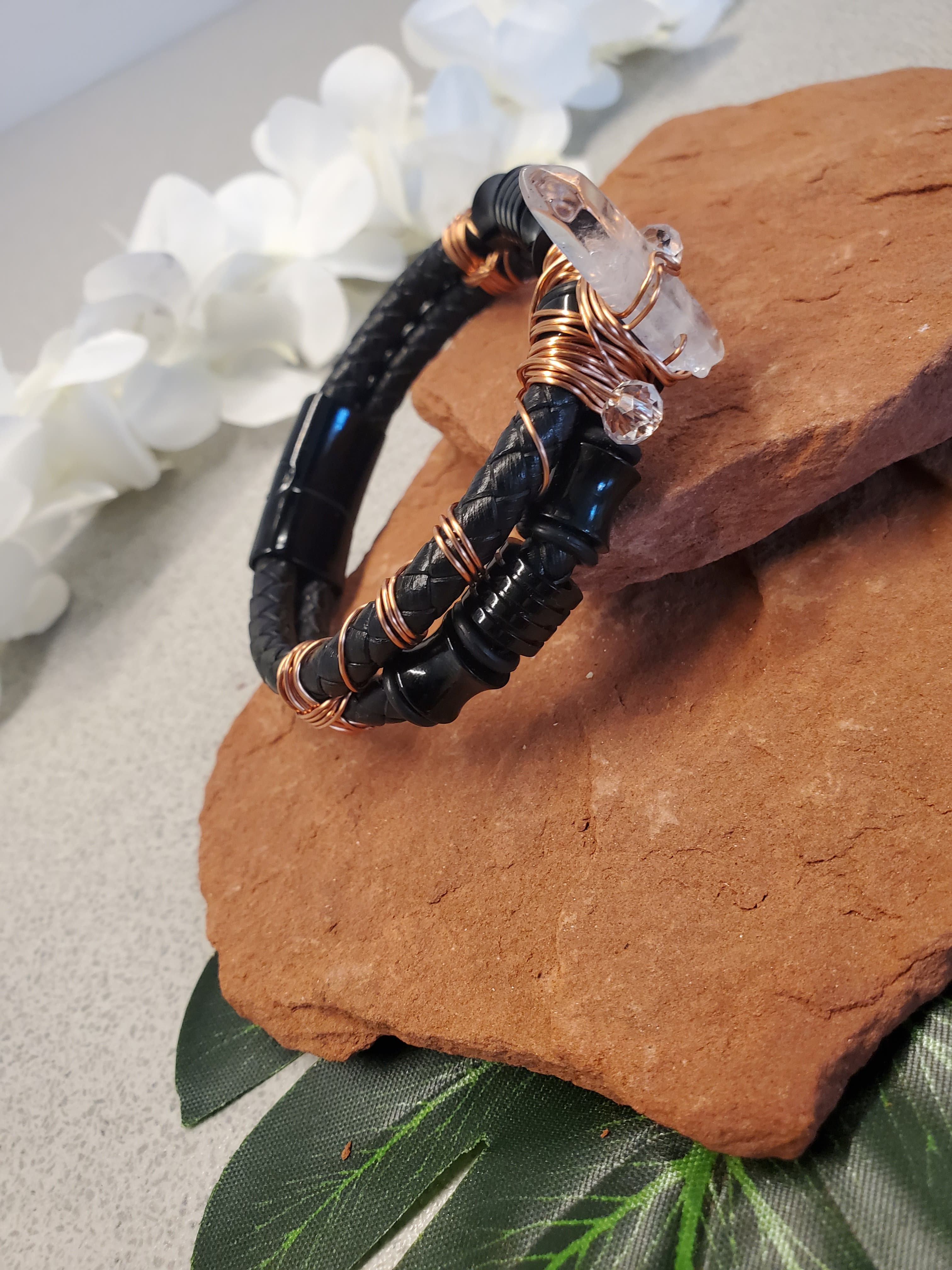 Leather Clear Quartz Bracelet One of a kind Crystal jewelry