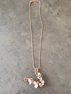 Rose Quarts Copper Necklace~One of a kind Crystal jewelry