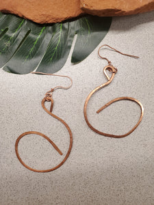 Copper swirl earrings~One of a kind Crystal jewelry