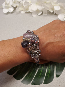 Lepidolite  Cluster Bracelet~One of a kind Crystal jewelry