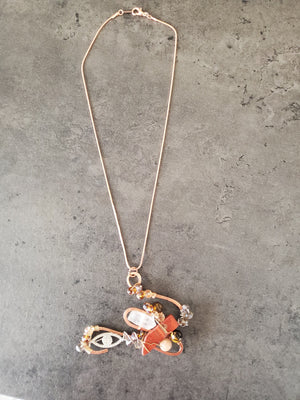 Red Jasper ,Tiger Eye, & Sunstone Copper necklace ~One of a kind Crystal jewelry