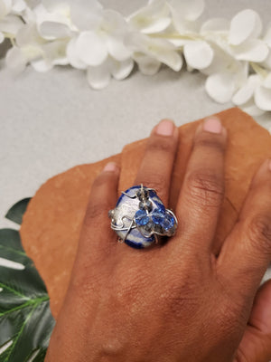 Lapis Galaxy Ring~One of a kind Crystal jewelry
