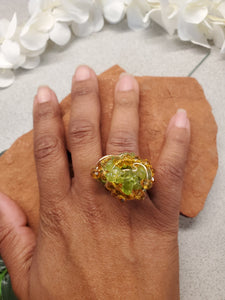 Prehnite Cluster Ring~One of a kind Crystal jewelry