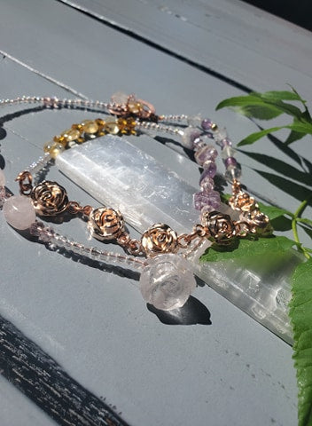 Quartz Rose crystal Healing Waist Beads