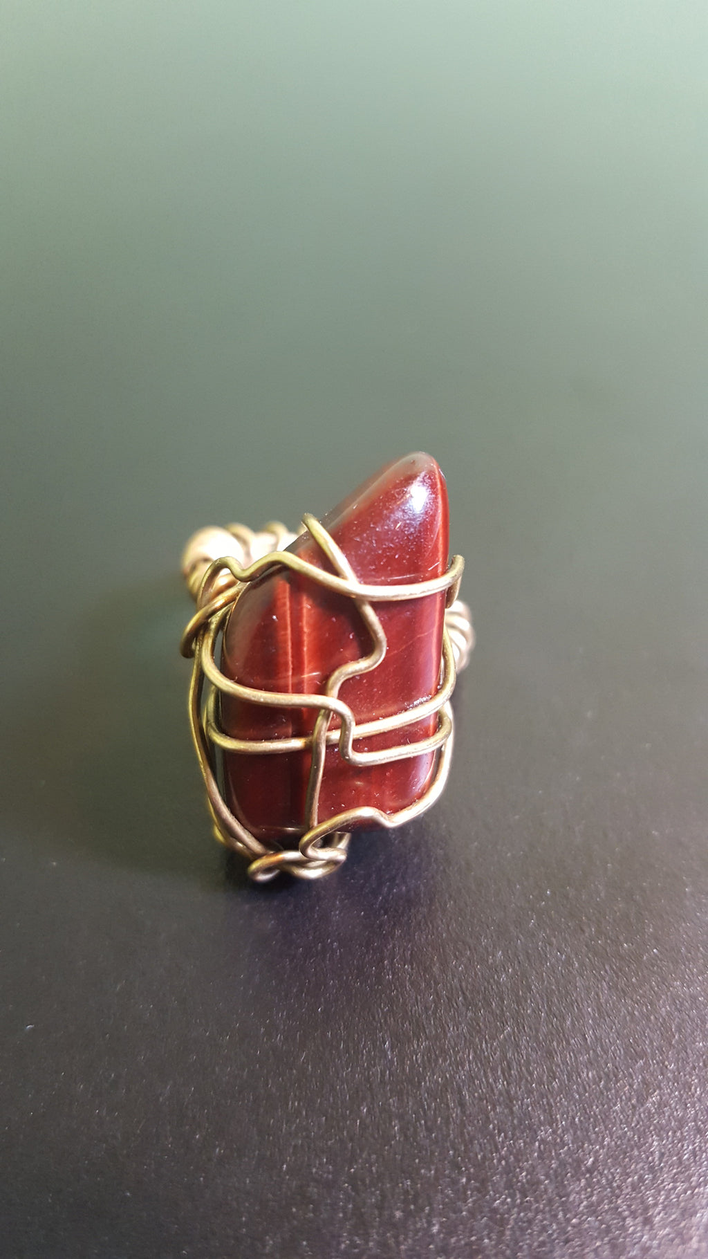 Red Tiger eye stone Galaxy Ring, one of a kind crystal jewelry