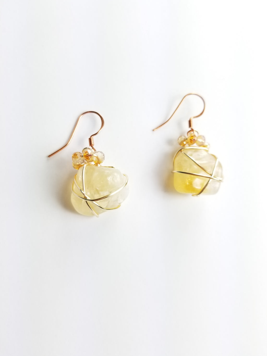 Citrine crystals, drop earrings~ one of a kind crystal jewelry