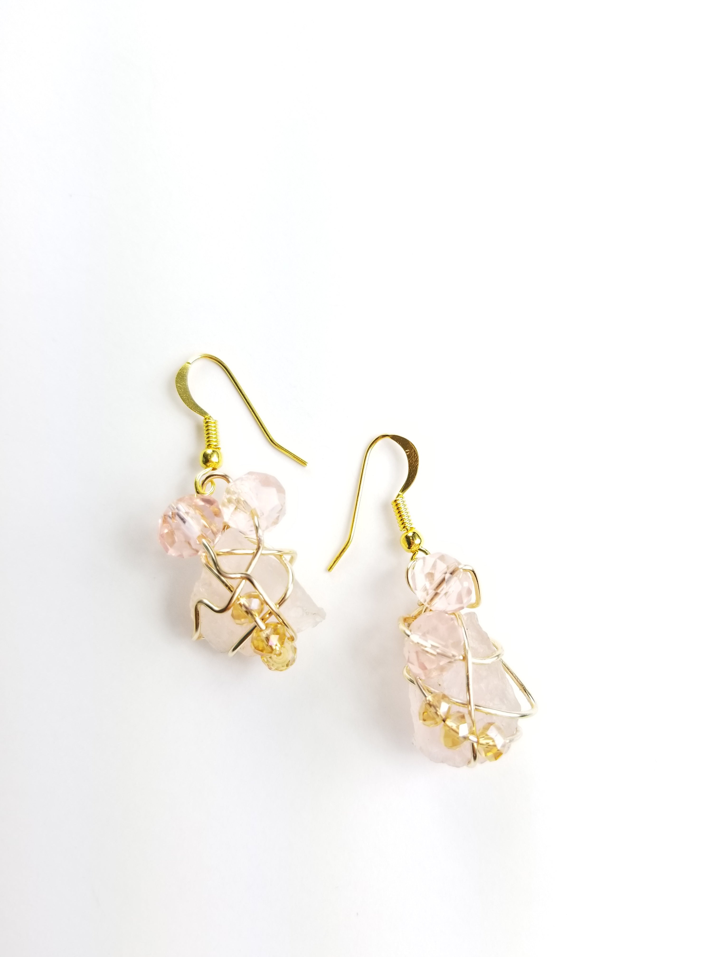 Rose Quartz, drop earrings, one of a kind crystal jewelry