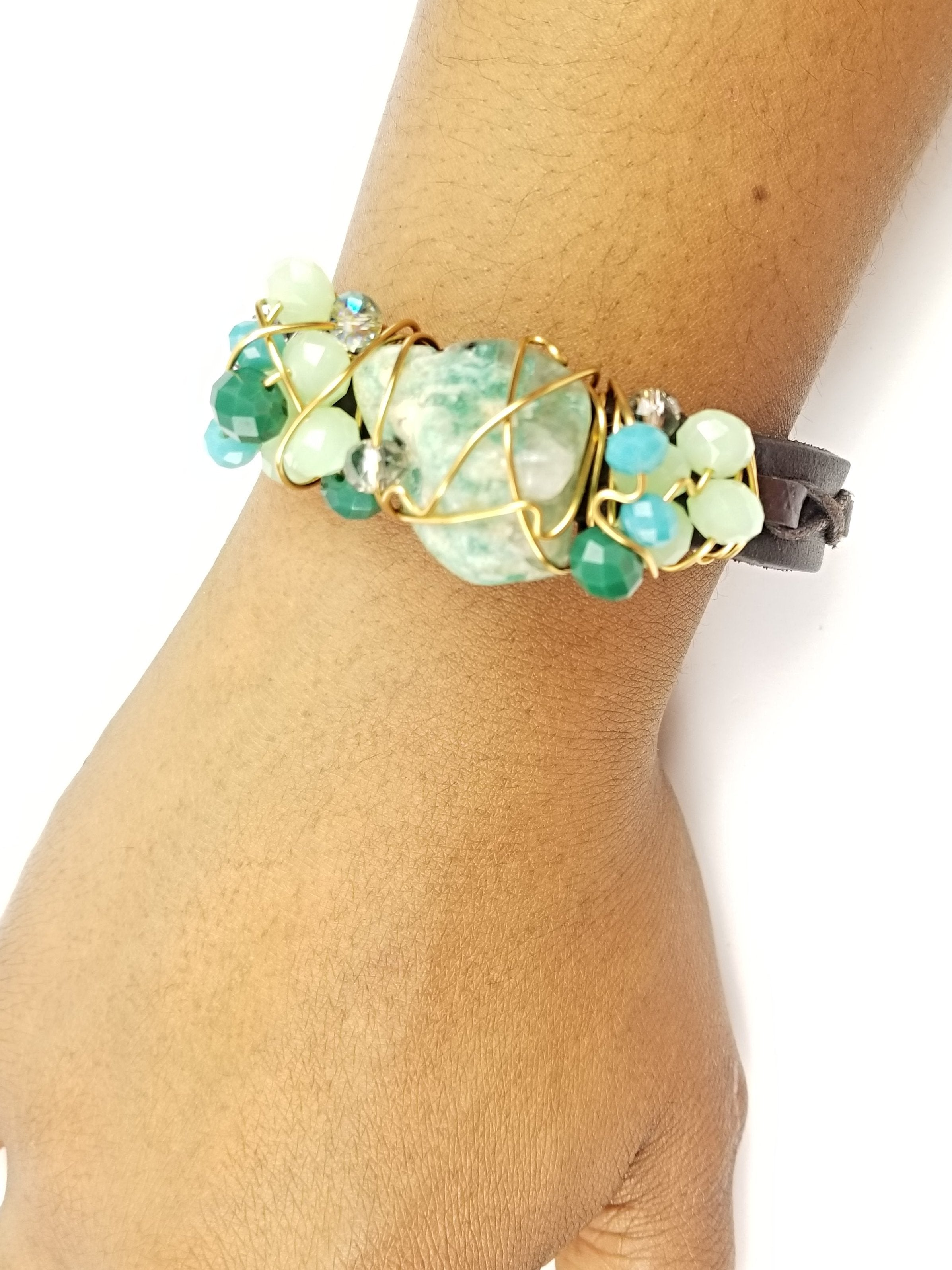Amazonite crystal ,Galaxy bracelet~ One of a kind crystal jewelry
