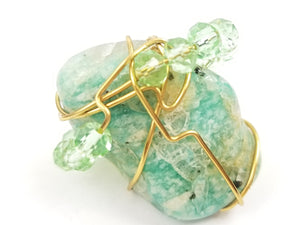 Large Amazonite Crystal,Galaxy ring, one of a kind crystal jewelry