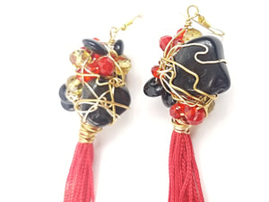 Black Onyx and Obsidian, tassel earrings ~ one of a kind crystal jewelry