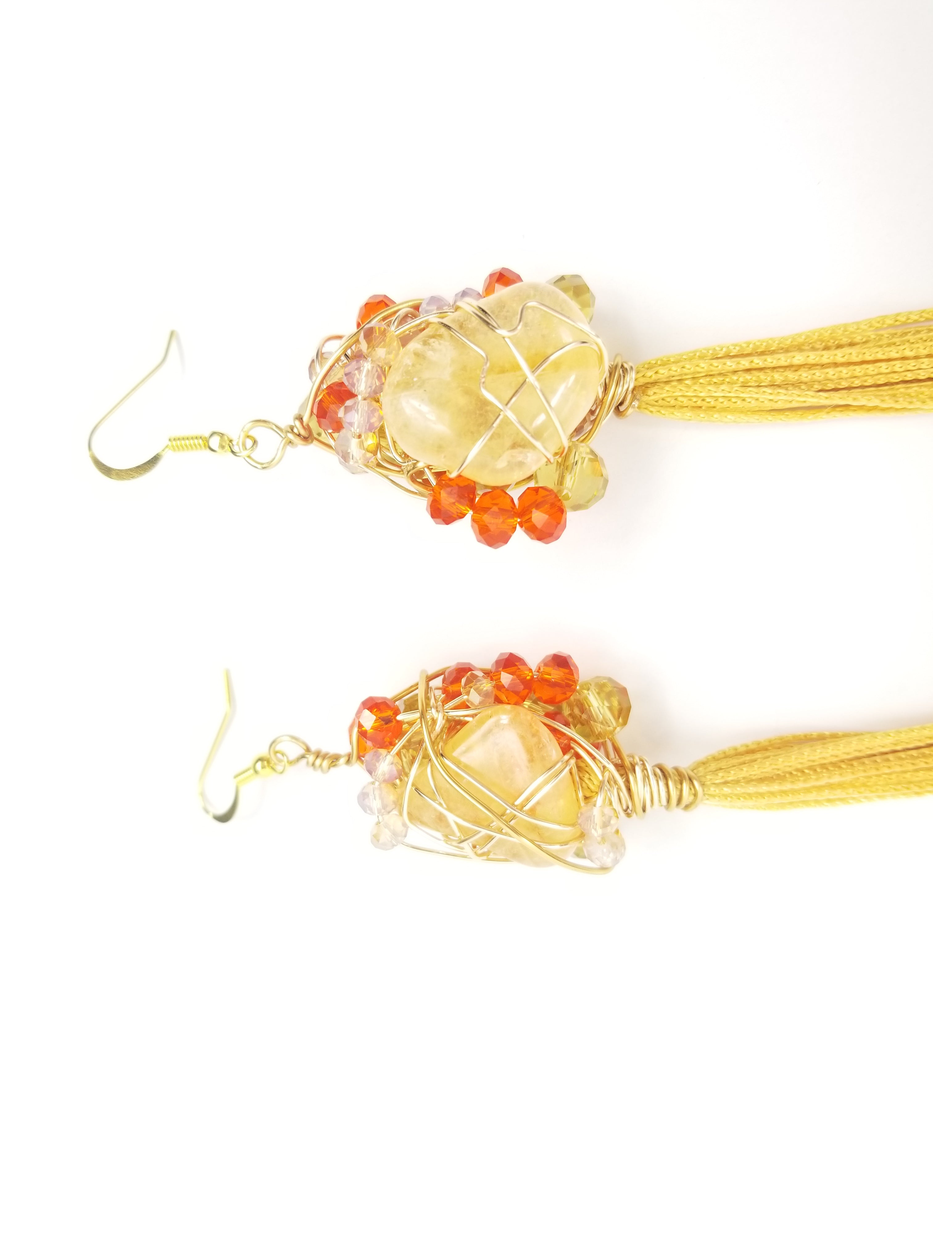 Citrine crystals, tassel goddess earrings~ one of a kind crystal jewelry