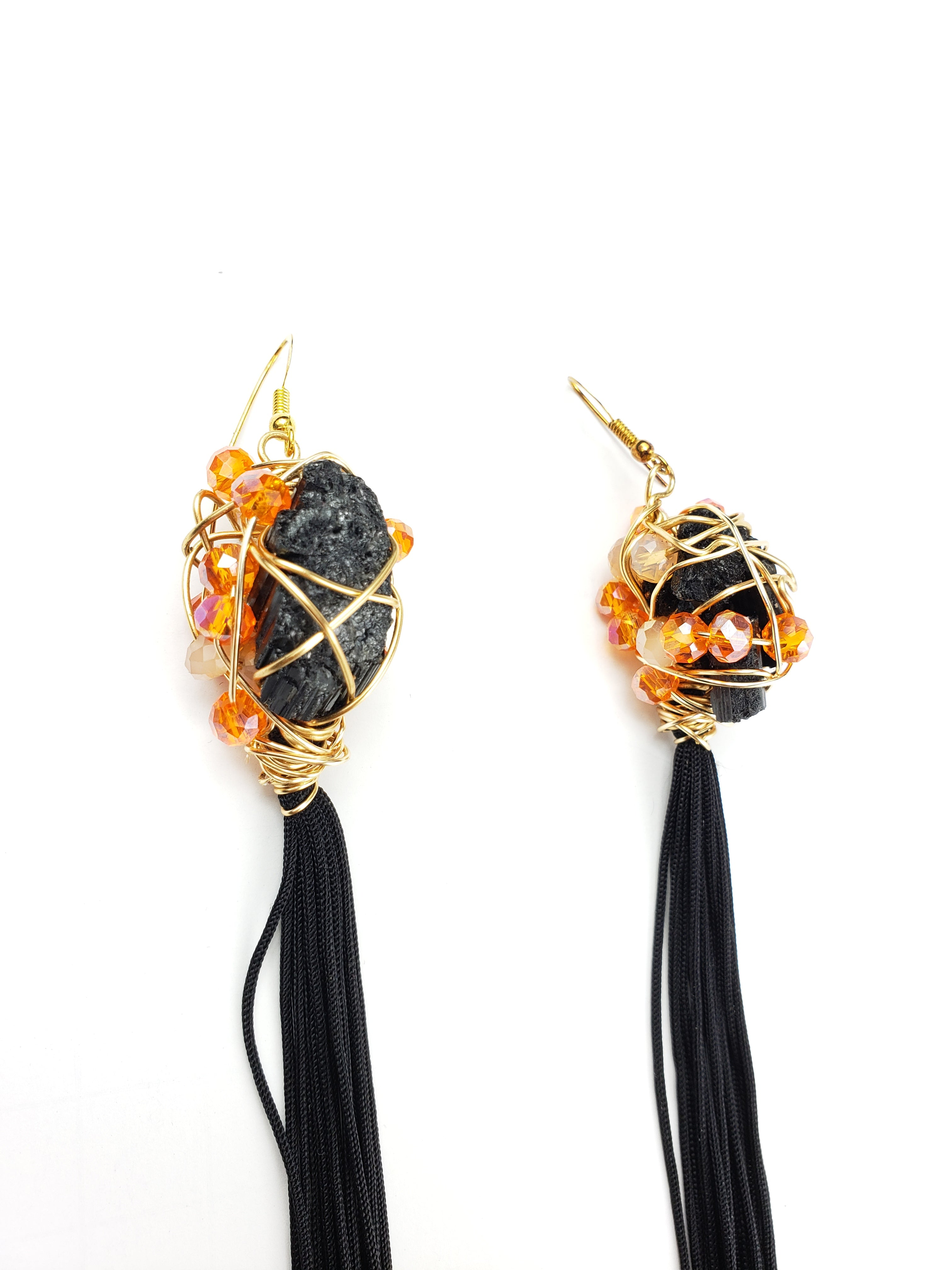 Black Tourmaline tassel earrings, one of a kind crystal jewelry