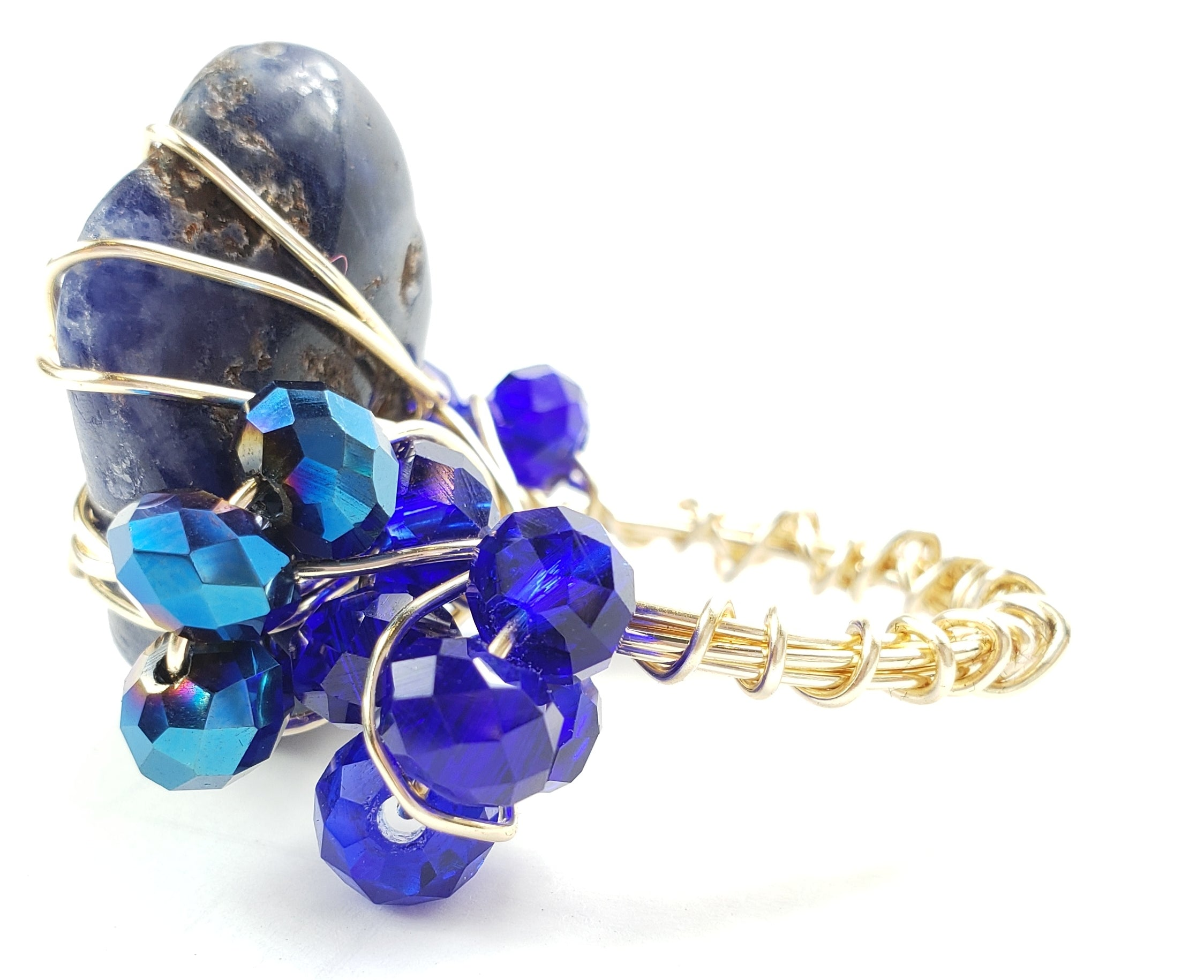 Sodalite stone galaxy ring~ one of a kind crystal jewelry