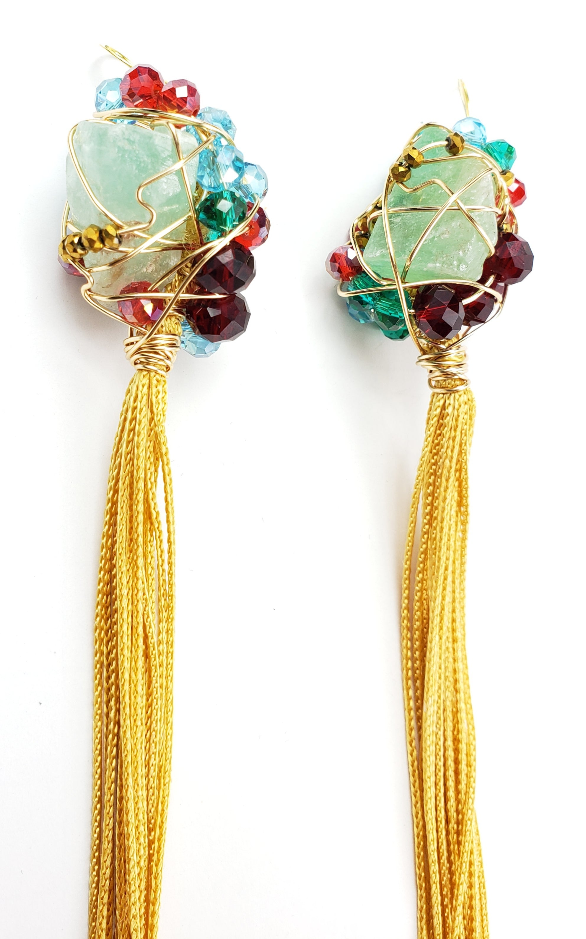 Raw Green Quartz tassel crystal earrings~ One of a kind jewelry