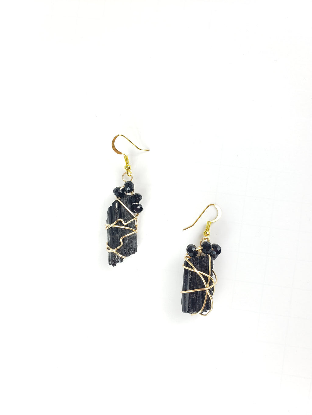 Wire Wrapped Black Tourmaline earrings, one of a kind crystal jewelry
