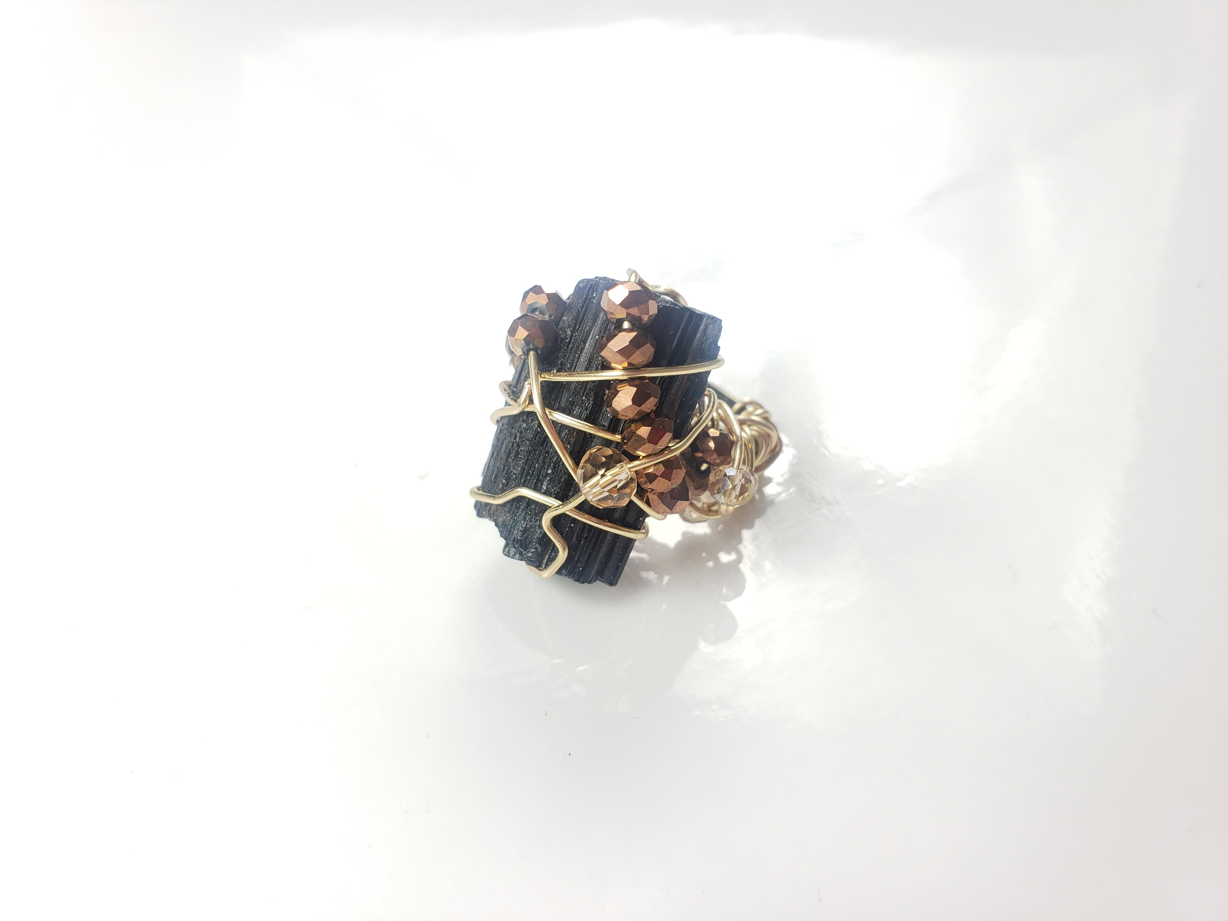 Black Tourmaline Ring, one of a kind crystal jewelry