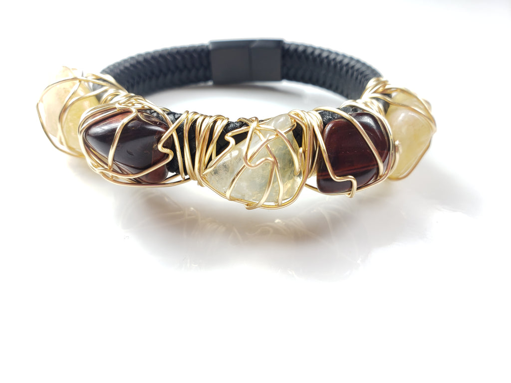 Tiger eye & Citrine leather bracelet
