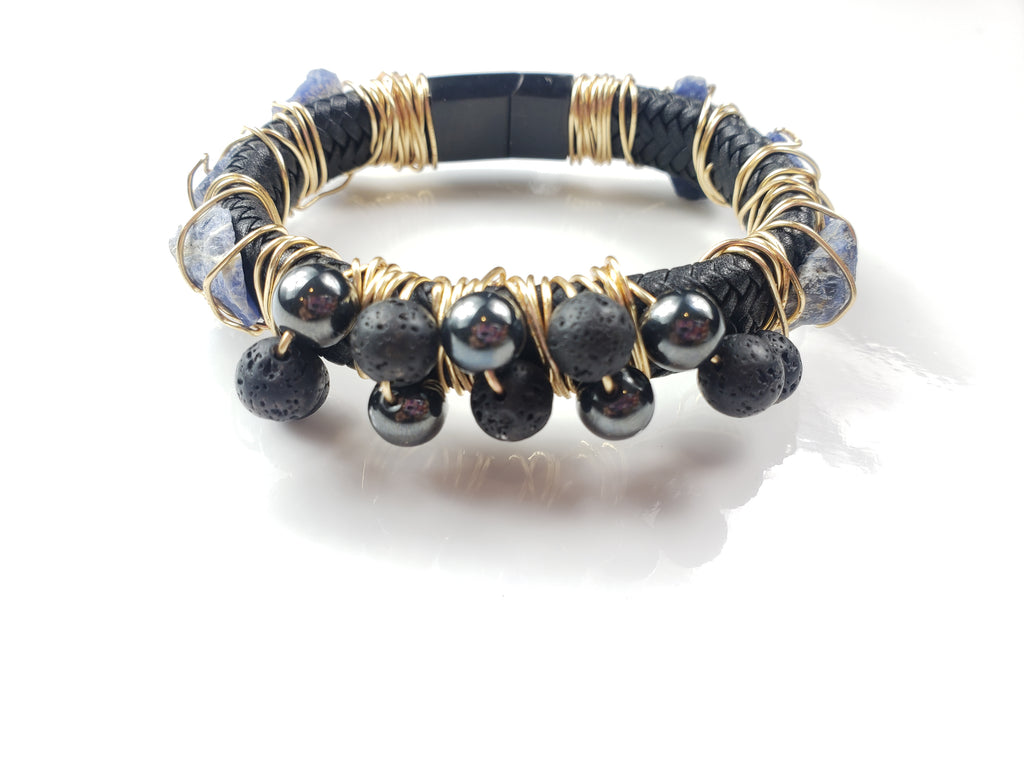 Sodalite, hematite & Lava stone bracelet~ One of a kind crystal jewelry