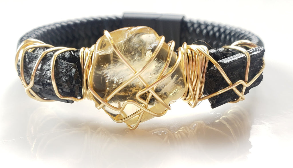 Citrine & Black Tourmaline leather bracelet