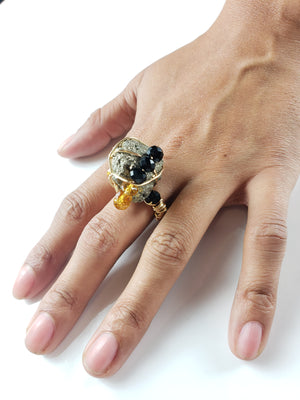 Pyrite Galaxy Ring_ One of a kind raw crystal jewelry