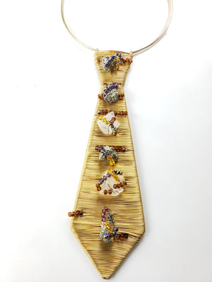 Pyrite & Clear Quartz Tie~ One of a kind raw crystal jewelry
