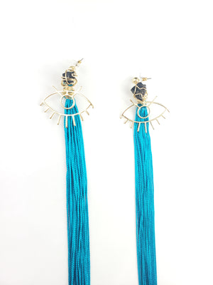 Third Eye Tassel Earrings with Black Tourmaline~One of a kind raw crystal jewelry