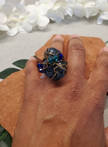 Sodalite Galaxy Ring~One of a kind Crystal jewelry