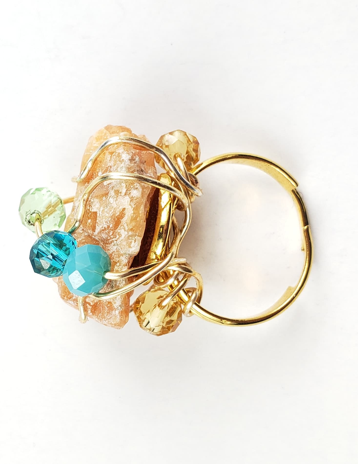 Orange calcite galaxy ring, one of a kind crystal jewelry