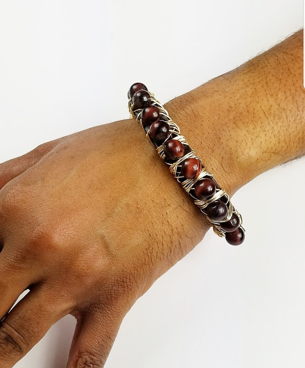 Red Tiger eye stone bracelet, one of a kind crystal jewelry