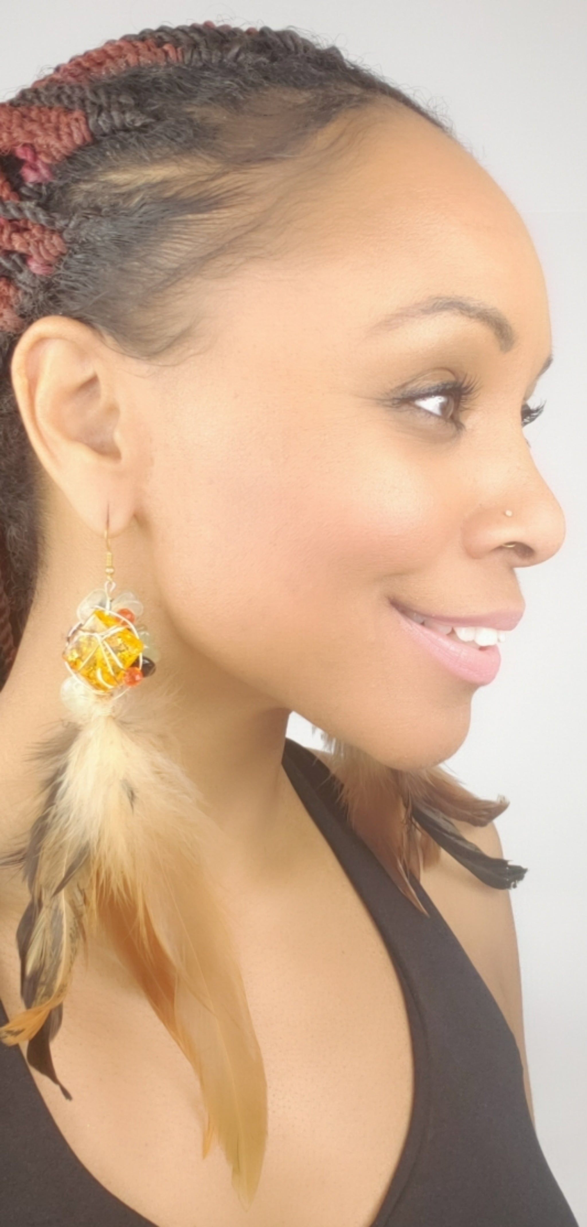 Amber, feather earrings, one of a kind crystal jewelry