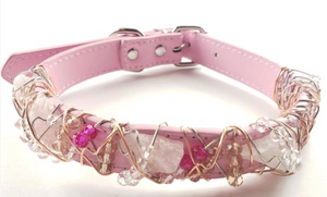 Rose Quartz Healing Dog Collar