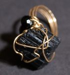 Black Tourmaline Galaxy Ring, one of a kind crystal jewelry