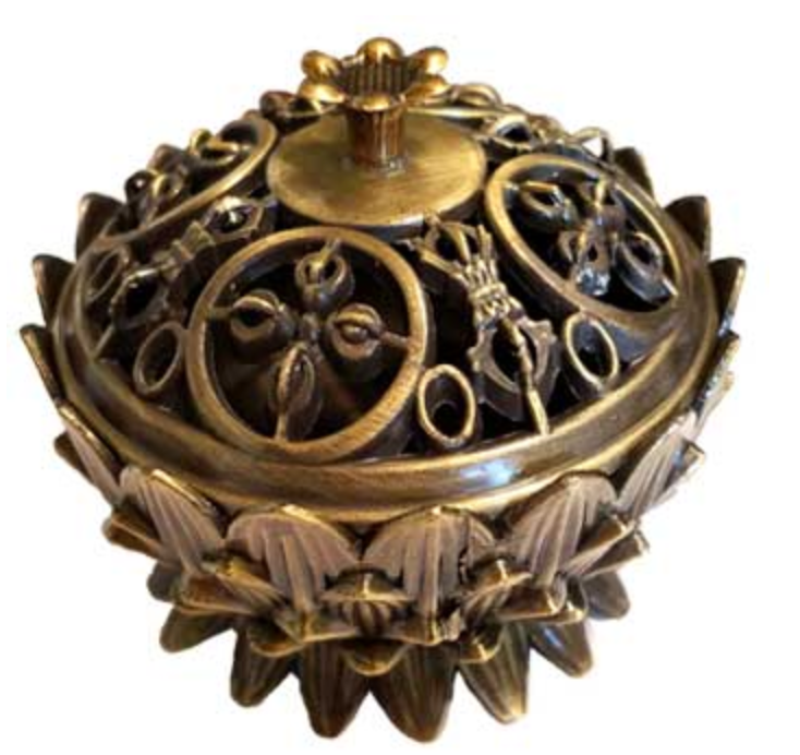 Lotus Incense Burner, Antique Bronze