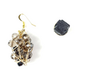 Raw Black Tourmaline stone, earrings, one of a kind crystal jewelry