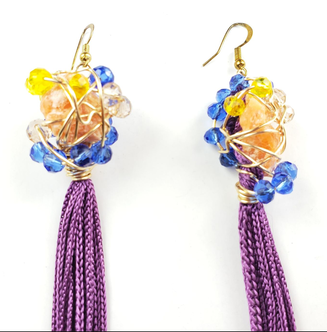 Orange calcite tassel earrings, one of a kind crystal jewelry