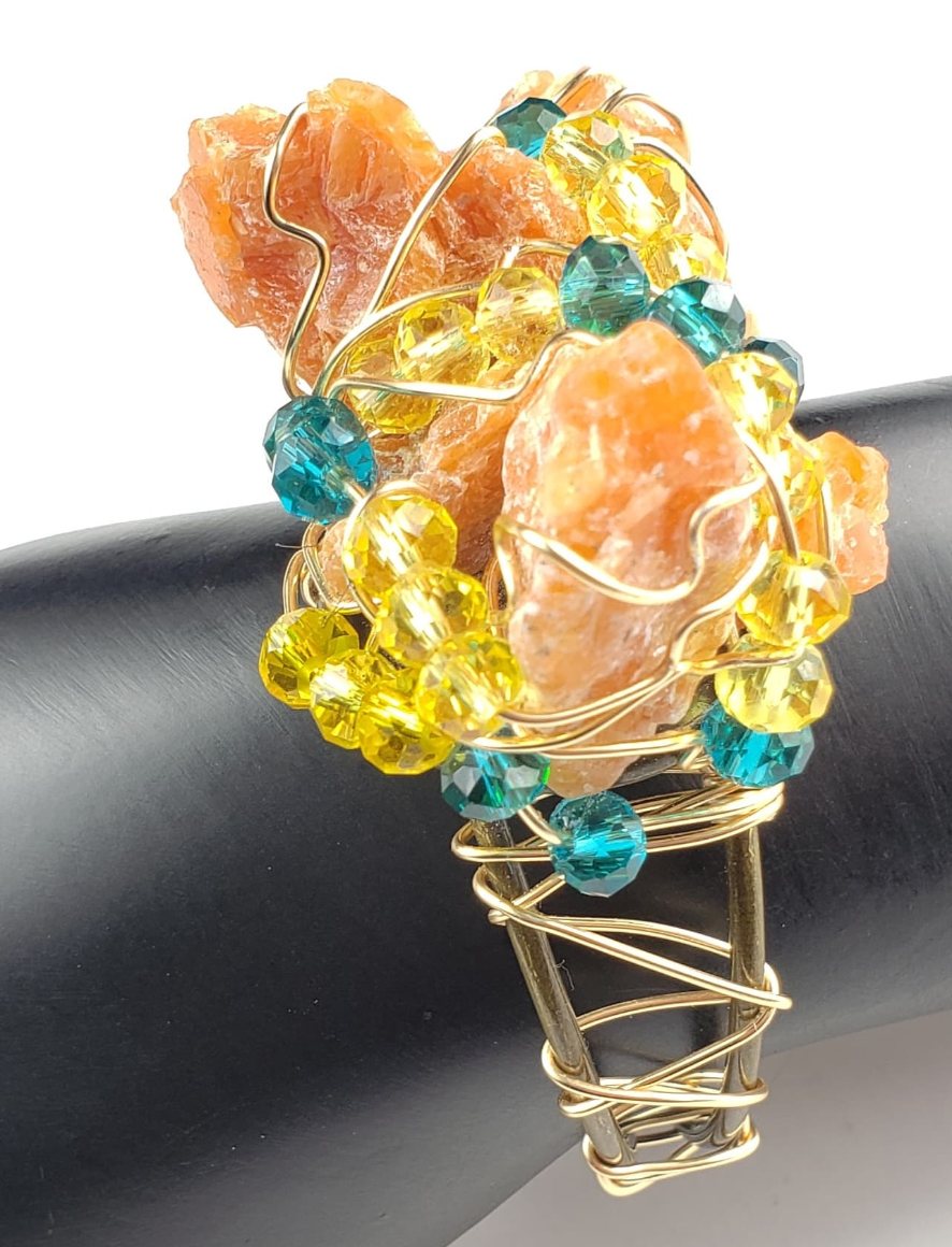 Orange Calcite galaxy bracelet~ one of a kind crystal jewelry