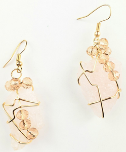Rose Quartz drop earrings~One of a kind jewelry
