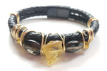 14k Citrine & smokey quartz bracelet, One of a kind crystal jewelry
