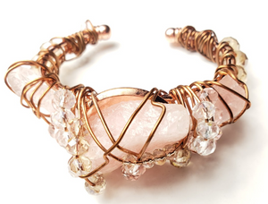 Raw Rose quartz Crystal Bracelet~One of a kind jewelry