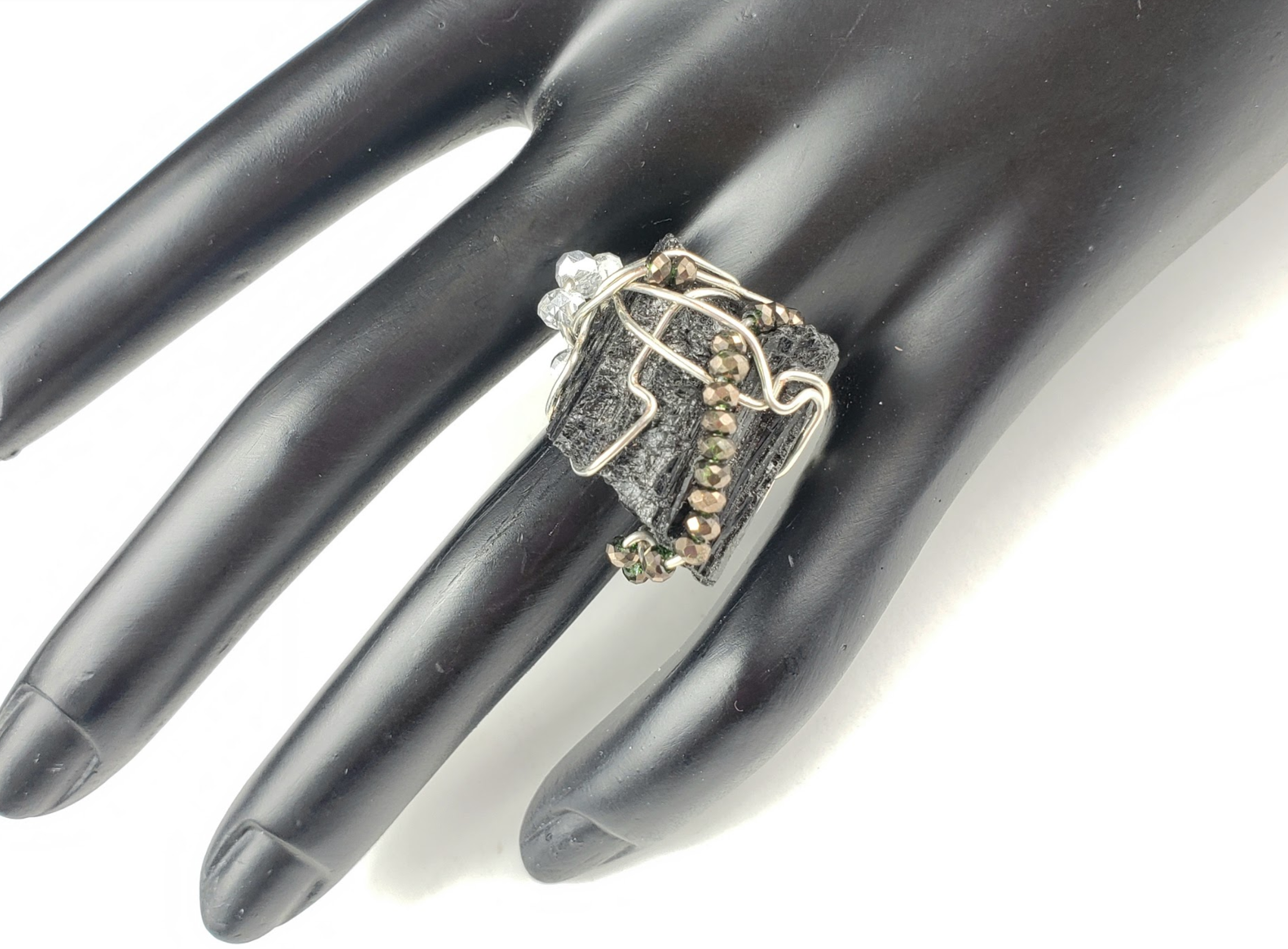 Raw Black Tourmaline Galaxy Ring, one of a kind crystal jewelry