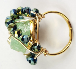 Green Calcite Galaxy Ring~ One of a kind crystal jewelry