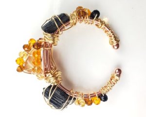 Black Tourmaline, Carnelian bracelet, one of a kind crystal jewelry