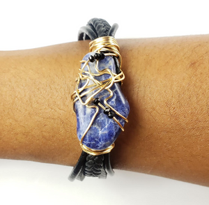 Sodalite leather bracelet with mini black crystals~One of a kind jewelry